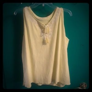 Talbots yellow top with tassels
